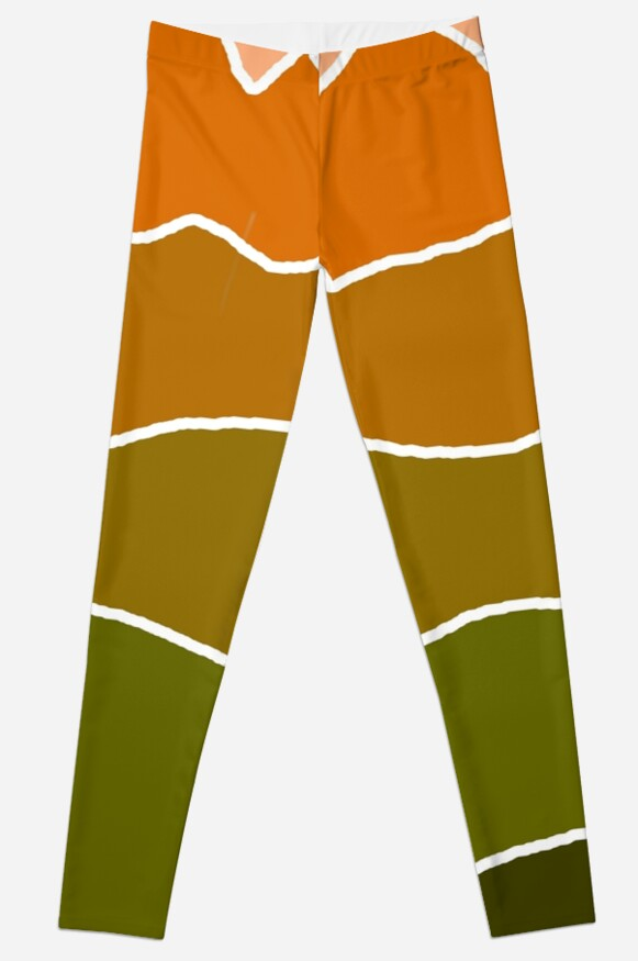 Landscape Staggered Green Orange by HandDrawnTees