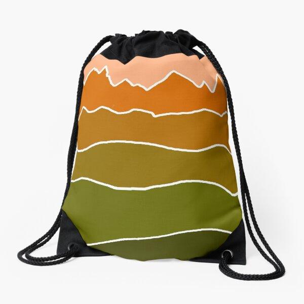 Landscape Staggered Green Orange Drawstring Bag