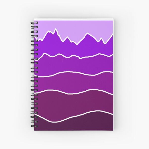 Landscape Staggered Purple Spiral Notebook