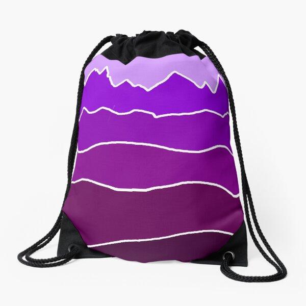 Landscape Staggered Purple Drawstring Bag