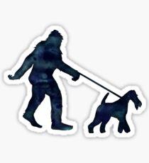 Bigfoot Walking His Wire Fox Terrier Dog Sticker