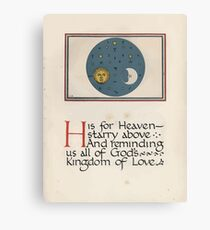 The Child's ABC of the War Geoffrey Whitworth Stanley North 1914 H is for Heaven Starry Above Canvas Print
