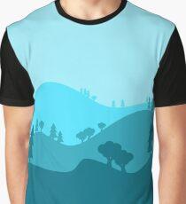 Landscape Blended Blue Graphic T-Shirt