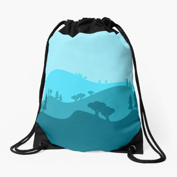 Landscape Blended Blue Drawstring Bag
