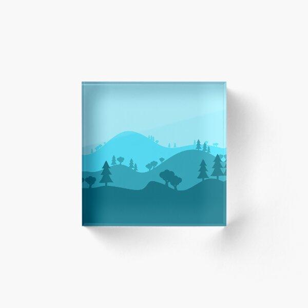 Landscape Blended Blue Acrylic Block