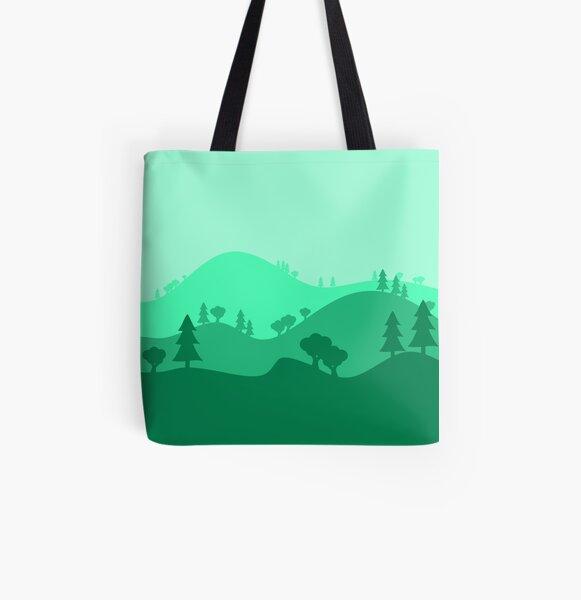 Landscape Blended Green All Over Print Tote Bag