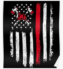 Firefighter Gift - Distressed American Flag Firefighter Poster