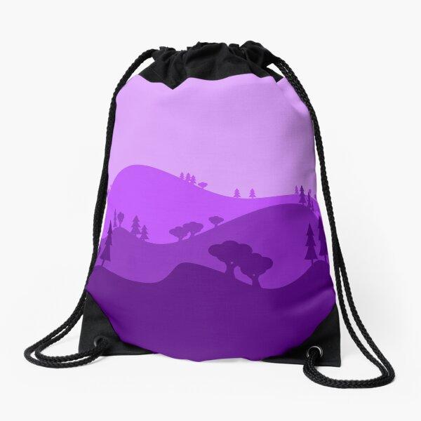 Landscape Blended Purple Drawstring Bag