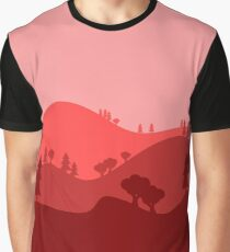 Landscape Blended Red Graphic T-Shirt