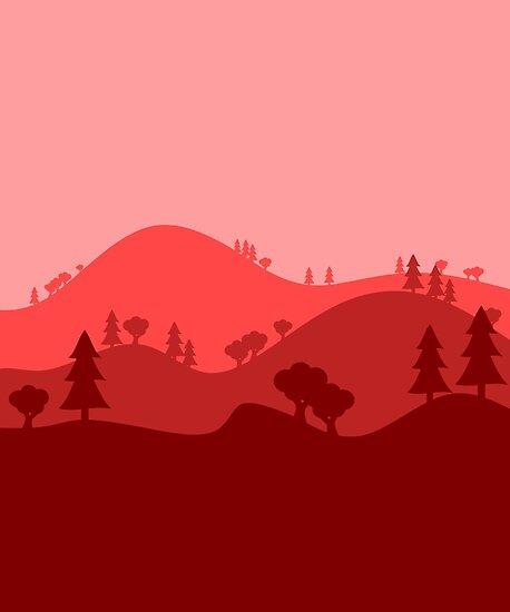 Landscape Blended Red by HandDrawnTees