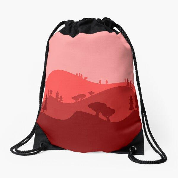 Landscape Blended Red Drawstring Bag
