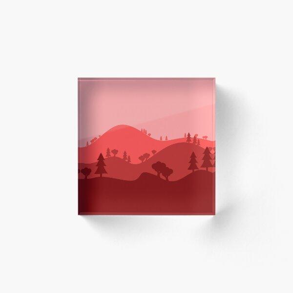 Landscape Blended Red Acrylic Block