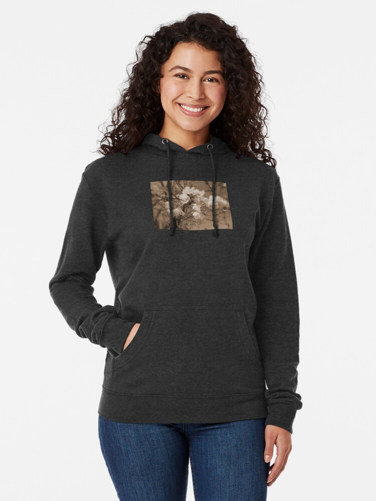 Alternate view of cherry blossoms in the sky, sepia Lightweight Hoodie
