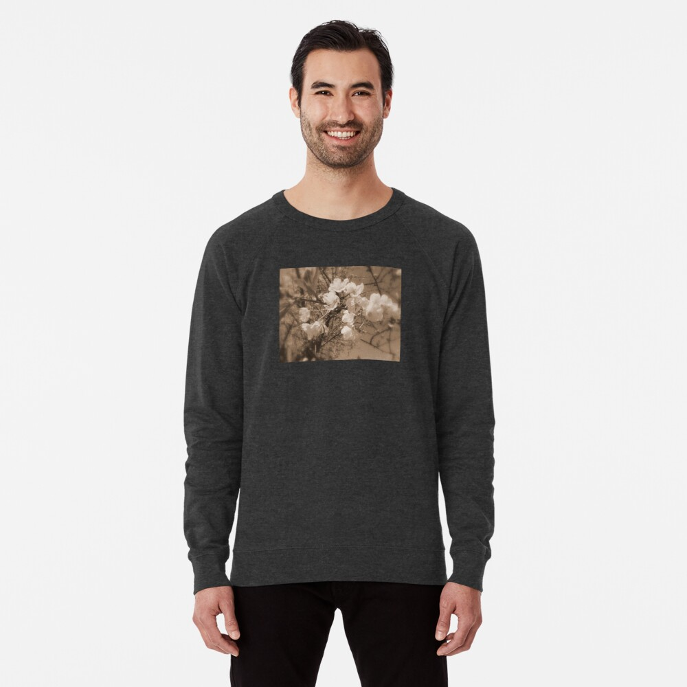 cherry blossoms in the sky, sepia Lightweight Sweatshirt