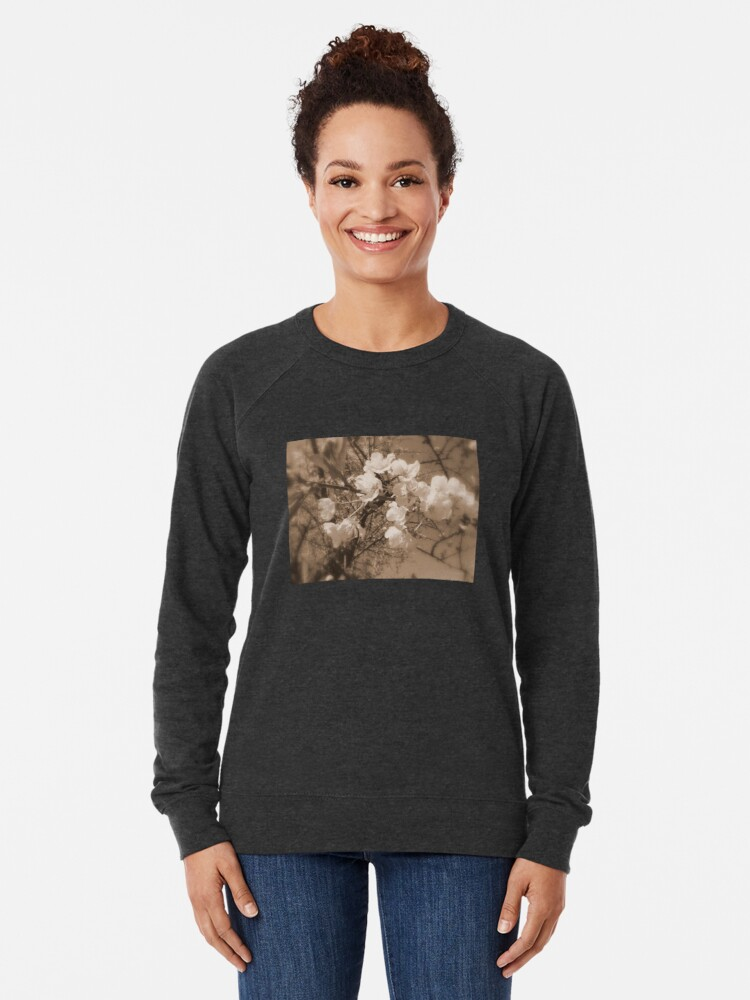 Alternate view of cherry blossoms in the sky, sepia Lightweight Sweatshirt