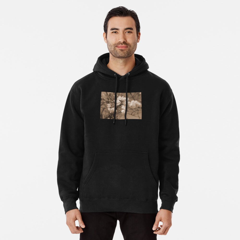 cherry blossoms in the sky, sepia Pullover Hoodie