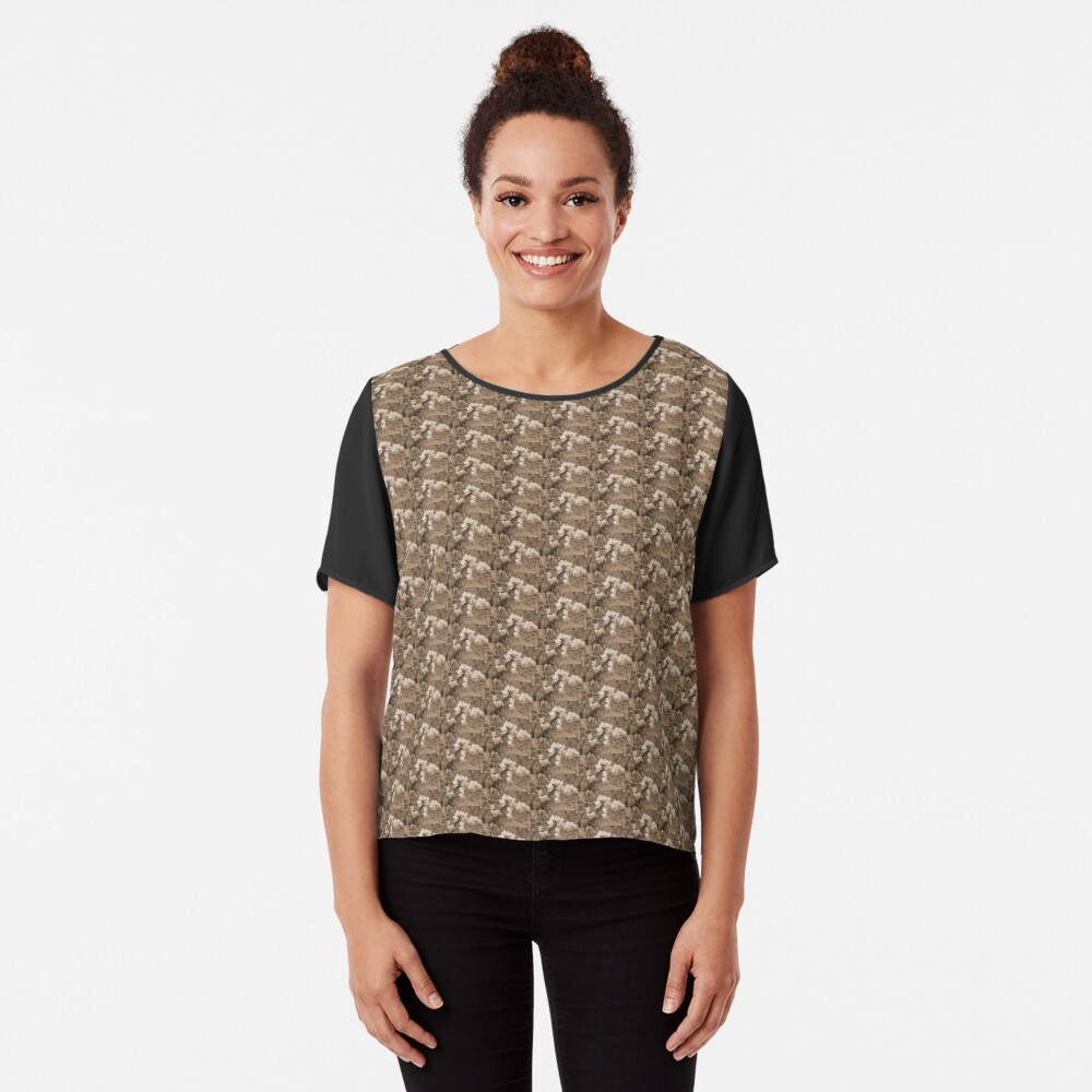 cherry blossoms in the sky, sepia Chiffon Top