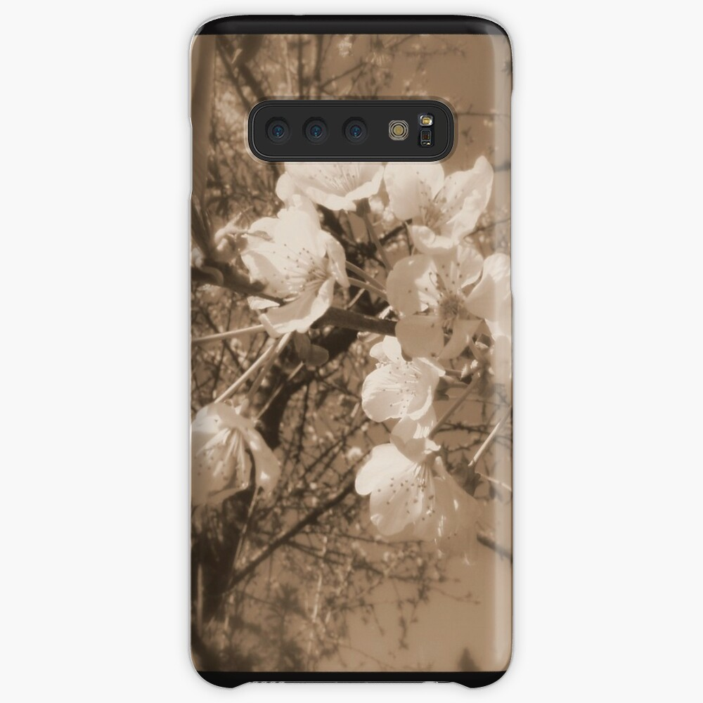 cherry blossoms in the sky, sepia Case & Skin for Samsung Galaxy