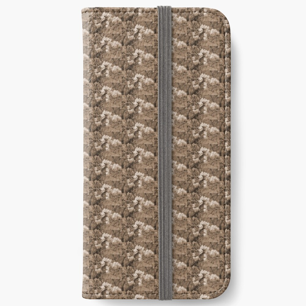 cherry blossoms in the sky, sepia iPhone Wallet