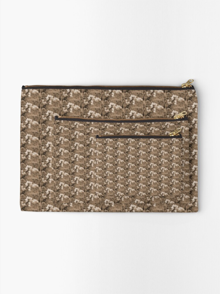 Alternate view of cherry blossoms in the sky, sepia Zipper Pouch