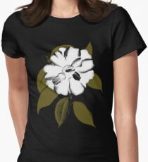 White Camellia Womens Fitted T-Shirt