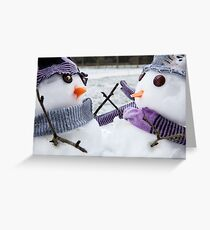 Two cute snowmen close up dressed for winter Greeting Card