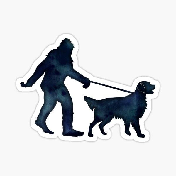 Bigfoot Walking Golden Retriever Sticker