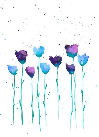 Peinture Fleurs Fleurs Aquarelle Illustration Aquarelle Posters