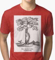 Bent, but never broken. Scoliosis awareness Tri-blend T-Shirt