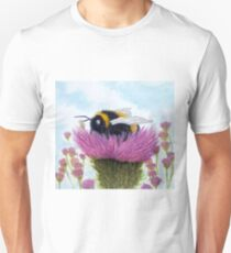Bumble Bee on a Thistle Unisex T-Shirt