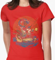 Dragonball, Pokémon, One Piece tee Womens Fitted T-Shirt