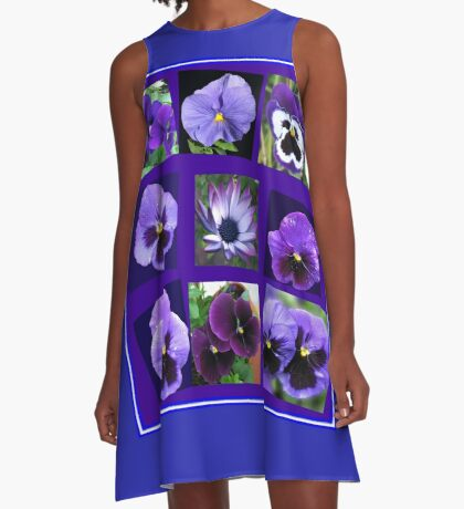 All Blues - Summer Flowers Collage A-Linien Kleid