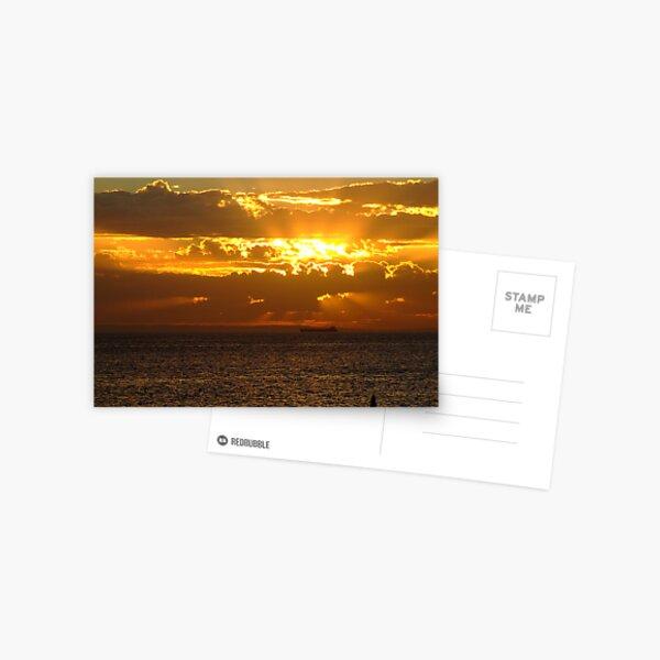 sunset ship Postcard