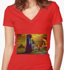 MISSING   ...    PIECES Women's Fitted V-Neck T-Shirt