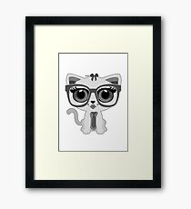 Kitten Nerd - Grey Framed Print