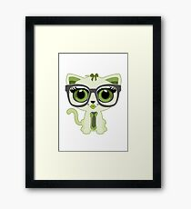 Kitten Nerd - Green Framed Print