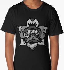 Grey Traditional Rose Long T-Shirt