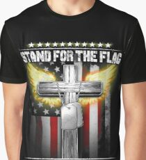 Stand for the flag - Kneel for the cross | National Day Graphic T-Shirt