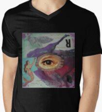 "Original Mixed Media Collage - ""Fisheye"" Mens V-Neck T-Shirt"