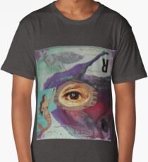 "Original Mixed Media Collage - ""Fisheye"" Long T-Shirt"