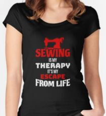Funny Sewing Lover Gift Sewing Is My Therapy Women's Fitted Scoop T-Shirt