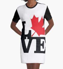 Canada - Love (Black Text) Graphic T-Shirt Dress