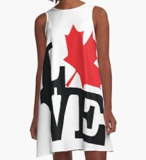 Canada - Love (Black Text) A-Line Dress