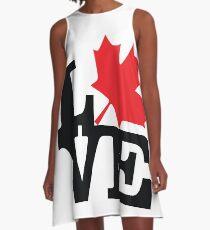 Canada - Love (Black Text) A-Line Dress