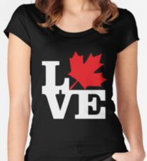 Canada - Love (White Text) Women's Fitted Scoop T-Shirt