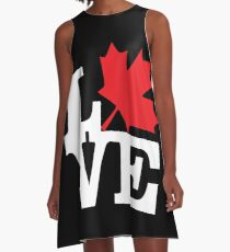 Canada - Love (White Text) A-Line Dress