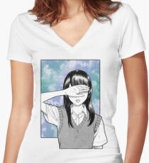 Lonely girl sad aesthetic no text Women's Fitted V-Neck T-Shirt