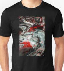Crimson Elements - Acrylic Paint Dirty Pour Unisex T-Shirt