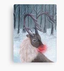 Realistic Rudolph Reindeer Acrylic Christmas Painting Metal Print