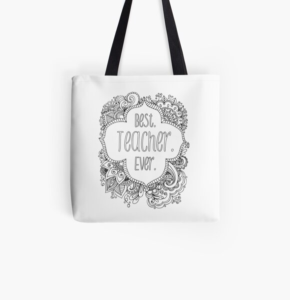 Best Teacher Ever - Colorable  All Over Print Tote Bag